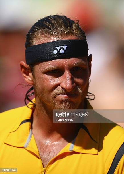 David Nalbandian of Argentina looks on in his match against Stanislas Wawrinka of Switzerland during the Open Sabadell Atlantico Barcelona 2008...