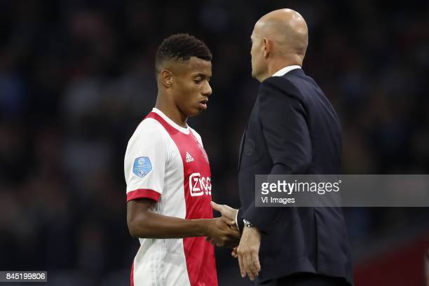 David Neres of Ajax coach Marcel Keizer of Ajax during the Dutch Eredivisie match between Ajax Amsterdam and PEC Zwolle at the Amsterdam Arena on...