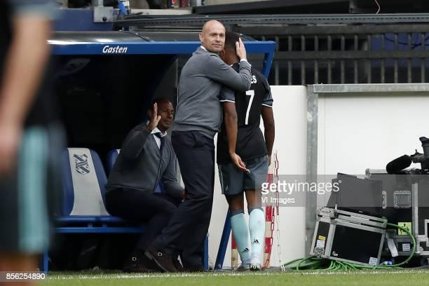 David Neres of Ajax coach Marcel Keizer of Ajax during the Dutch Eredivisie match between sc Heerenveen and Ajax Amsterdam at Abe Lenstra Stadium on...