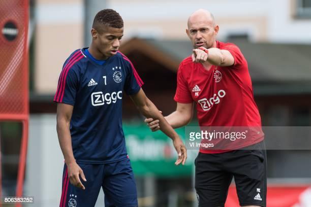 David Neres of Ajax coach Marcel Keizer of Ajaxduring the preseason summer training camp of Ajax Amsterdam at Lindenstadion on July 03 2017 in...