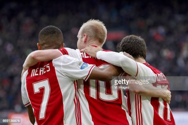 David Neres of Ajax Davy Klaassen of Ajax Amin Younes of Ajaxduring the Dutch Eredivisie match between Ajax Amsterdam and sc Heerenveen at the...