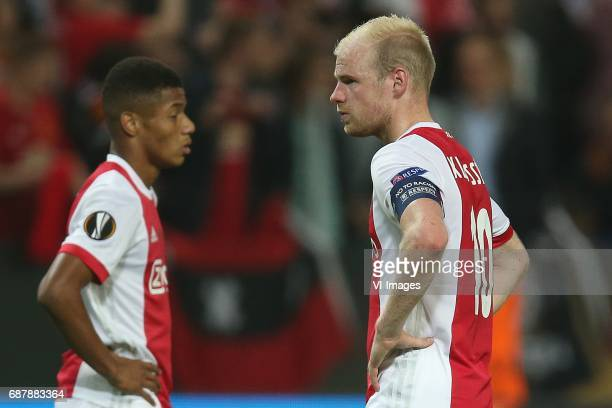 David Neres of Ajax Davy Klaassen of Ajaxduring the UEFA Europa League final match between Ajax Amsterdam and Manchester United at the Friends Arena...