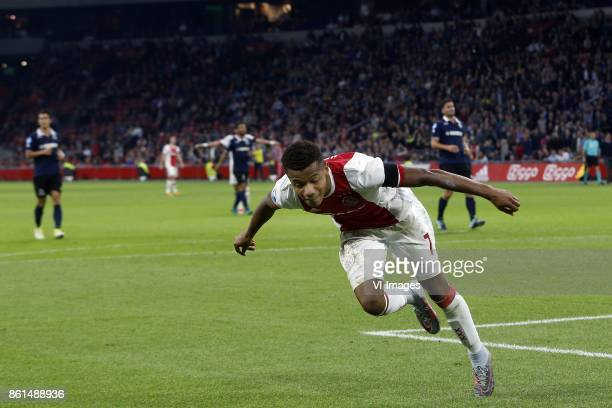 David Neres of Ajax during the Dutch Eredivisie match between Ajax Amsterdam and Sparta Rotterdam at the Amsterdam Arena on October 14 2017 in...