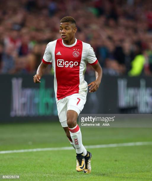 David Neres of Ajax during the UEFA Champions League Qualifying Third Round match between Ajax and OSC Nice at Amsterdam Arena on August 2 2017 in...