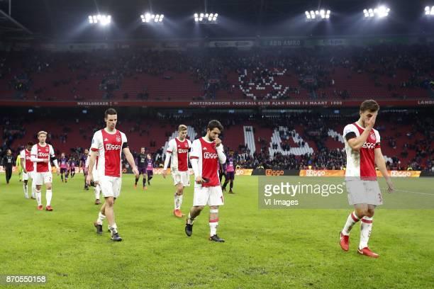 David Neres of Ajax Frenkie de Jong of Ajax Nick Viergever of Ajax Matthijs de Ligt of Ajax Amin Younes of Ajax Joel Veltman of Ajax during the Dutch...