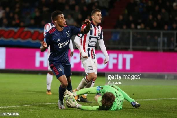 David Neres of Ajax goalkeeper Mathijs Branderhorst of Willem II during the Dutch Eredivisie match between Willem II Tilburg and Ajax Amsterdam at...