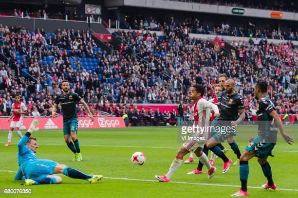 David Neres of Ajax goalkeeper Theo Zwarthoed of Go Ahead Eagles Sebastien Locigno of Go Ahead Eagles Justin Kluivert of Ajax Frenkie de Jong of Ajax...