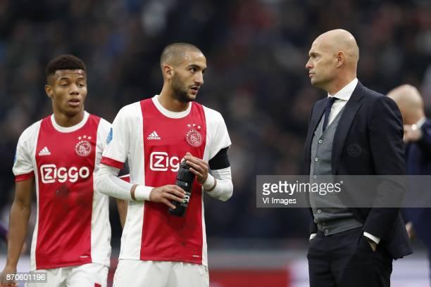 David Neres of Ajax Hakim Ziyech of Ajax coach Marcel Keizer of Ajax during the Dutch Eredivisie match between Ajax Amsterdam and FC Utrecht at the...