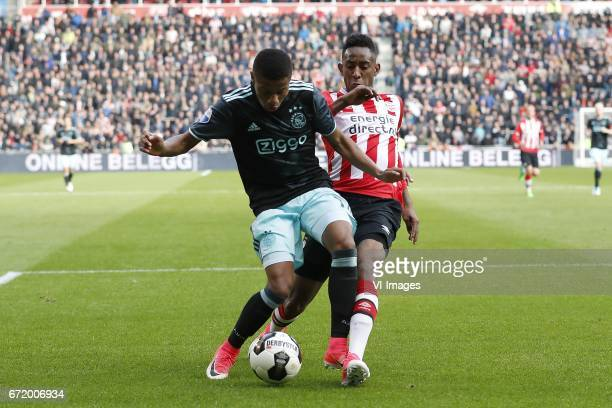 David Neres of Ajax Joshua Brenet of PSVduring the Dutch Eredivisie match between PSV Eindhoven and Ajax Amsterdam at the Phillips stadium on April...