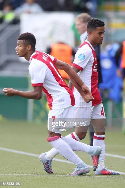 David Neres of Ajax Justin Kluivert of Ajax during the Dutch Eredivisie match between ADO Den Haag and Ajax Amsterdam at Car Jeans stadium on...