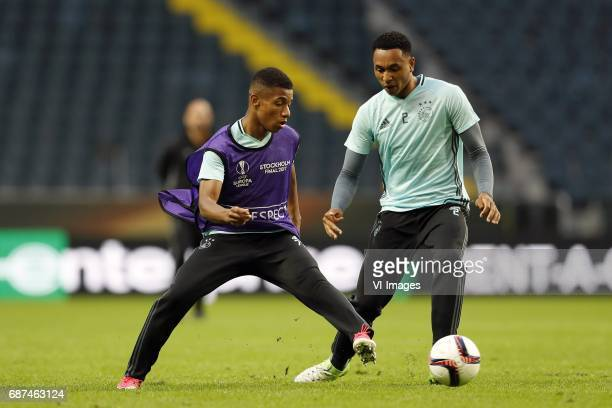 David Neres of Ajax Kenny Tete of Ajaxduring a training session prior to the UEFA Europa League final match between Ajax Amsterdam and Manchester...