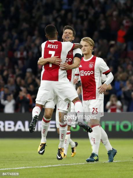 David Neres of Ajax Klaas Jan Huntelaar of Ajax Kasper Dolberg of Ajax during the Dutch Eredivisie match between Ajax Amsterdam and PEC Zwolle at the...