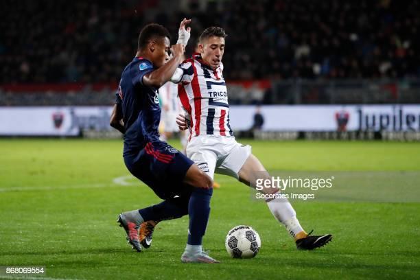 David Neres of Ajax Kostas Tsimikas of Willem II during the Dutch Eredivisie match between Willem II v Ajax at the Koning Willem II Stadium on...