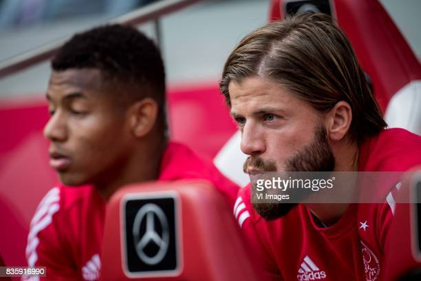 David Neres of Ajax Lasse Schone of Ajax during the Dutch Eredivisie match between Ajax Amsterdam and FC Groningen at the Amsterdam Arena on August...