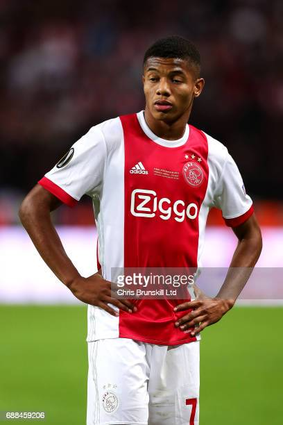 David Neres of Ajax looks on during the UEFA Europa League Final match between Ajax and Manchester United at Friends Arena on May 24 2017 in...