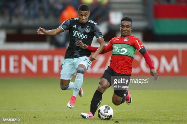 David Neres of Ajax Lorenzo Burnet of NECduring the Dutch Eredivisie match between NEC Nijmegen and Ajax Amsterdam at the Goffert stadium on April 08...