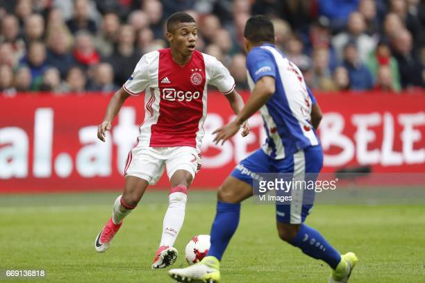 David Neres of Ajax Lucas Bijker of sc Heerenveenduring the Dutch Eredivisie match between Ajax Amsterdam and sc Heerenveen at the Amsterdam Arena on...