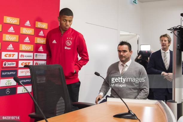 David Neres of Ajax Marc Overmars of Ajax Edwin van der Sar of Ajaxduring the press presentation of David Neres at the Amsterdam Arena on February 17...