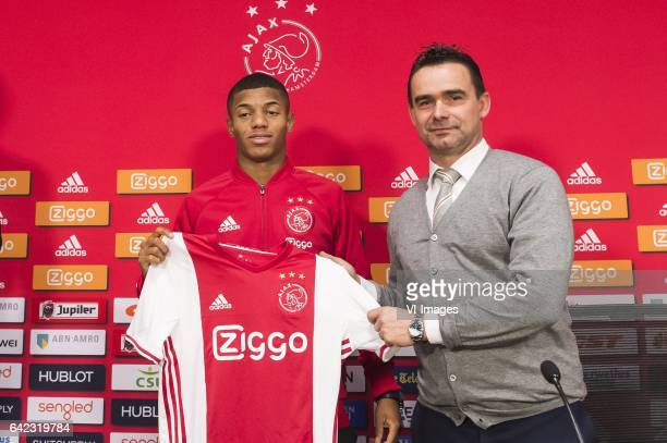 David Neres of Ajax Marc Overmars of Ajaxduring the press presentation of David Neres at the Amsterdam Arena on February 17 2017 in Amsterdam The...