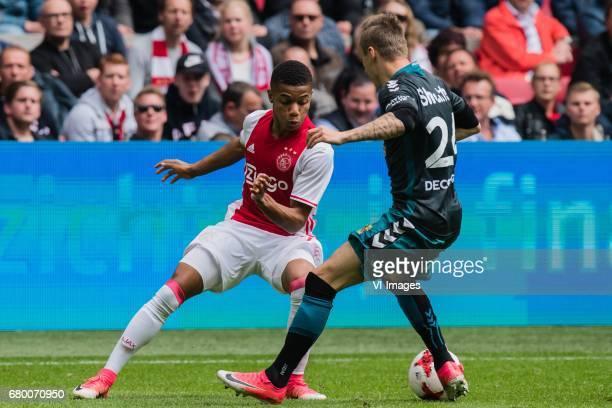 David Neres of Ajax Marcel Ritzmaier of Go Ahead Eaglesduring the Dutch Eredivisie match between Ajax Amsterdam and Go Ahead Eagles at the Amsterdam...