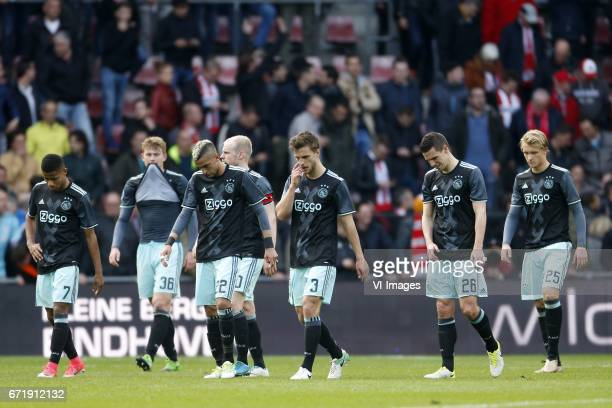David Neres of Ajax Matthijs de Ligt of Ajax Hakim Ziyech of Ajax Lasse Schone of Ajax Joel Veltman of Ajax Nick Viergever of Ajax Kasper Dolberg of...
