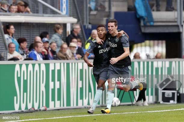 David Neres of Ajax Nick Viergever of Ajax during the Dutch Eredivisie match between sc Heerenveen and Ajax Amsterdam at Abe Lenstra Stadium on...