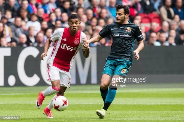 David Neres of Ajax Pedro Chirivella Burgos of Go Ahead Eaglesduring the Dutch Eredivisie match between Ajax Amsterdam and Go Ahead Eagles at the...