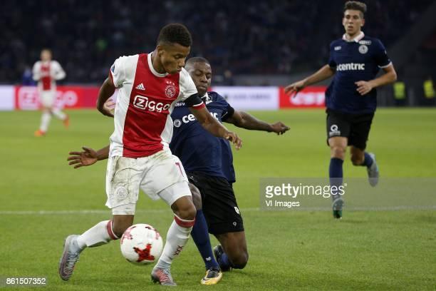 David Neres of Ajax Sherel Floranus of Sparta Rotterdam during the Dutch Eredivisie match between Ajax Amsterdam and Sparta Rotterdam at the...