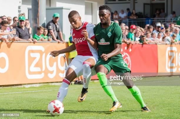 David Neres of Ajax Ulisses Garcia of SV Werder Bremen during the friendly match between Ajax Amsterdam and SV Werder Bremen at Lindenstadion on July...