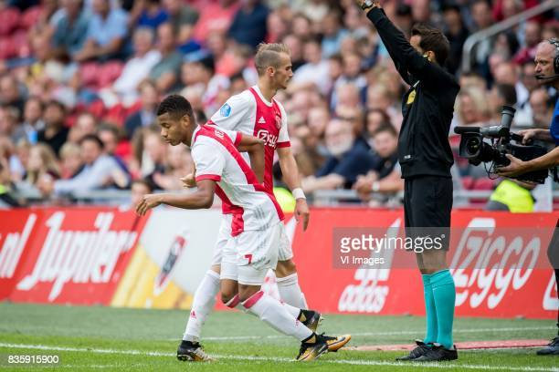 David Neres of Ajax Vaclav Cerny of Ajax during the Dutch Eredivisie match between Ajax Amsterdam and FC Groningen at the Amsterdam Arena on August...