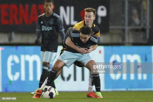 David Neres of Jong Ajax Abdelhak Nouri of Jong Ajax Arno Verschueren of NAC Bredaduring the Jupiler League match between NAC Breda and Jong Ajax...