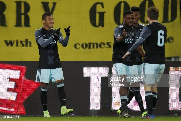 David Neres of Jong Ajax Deyovaisio Zeefuik of Jong Ajax Mateo Cassierra of Jong Ajax Carel Eiting of Jong Ajaxduring the Jupiler League match...