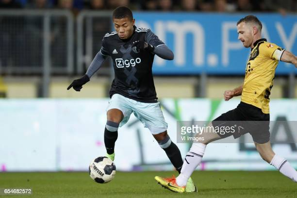 David Neres of Jong Ajax Robbie Haemhouts of NAC Bredaduring the Jupiler League match between NAC Breda and Jong Ajax Amsterdam at the Rat Verlegh...