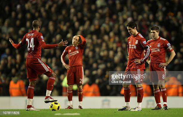 David Ngog Lucas Fernando Torres and Steven Gerrard of Liverpool look dejected after Wolverhampton Wanderers opened the scoring during the Barclays...