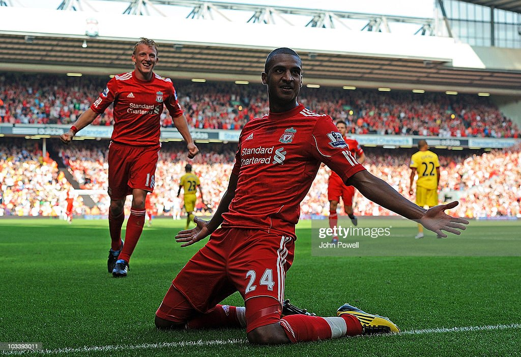 David Ngog of Liverpool celebrates after scoring the opening goal during the Barclays Premier League match between Liverpool and Arsenal at Anfield on August 15, 2010 in Liverpool, England.