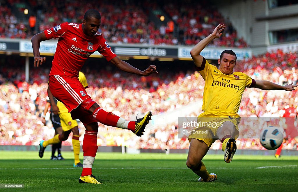 David Ngog of Liverpool scores the opening goal during the Barclays Premier League match between Liverpool and Arsenal at Anfield on August 15, 2010 in Liverpool, England.