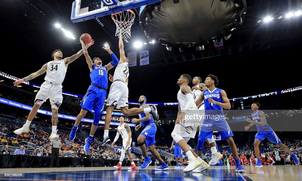 David Nickelberry #15 of the Memphis Tigers drives to the basket during a semifinal game of the 2018 AAC Basketball Championship against the Cincinnati Bearcats at Amway Center on March 10, 2018 in Orlando, Florida.