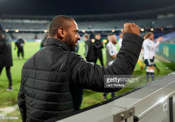 David Nielsen head coach of AGF Aarhus celebrates after the Danish Alka Superliga match between AGF Aarhus and Silkeborg IF at Ceres Park on November...