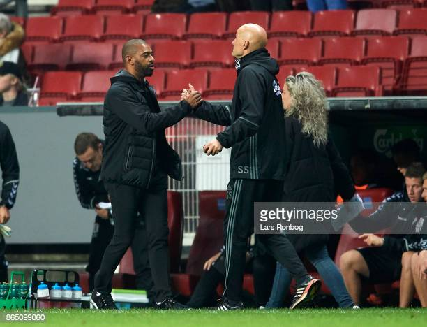 David Nielsen head coach of AGF Aarhus shake hands with Stale Solbakken head coach of FC Copenhagen after the Danish Alka Superliga match between FC...