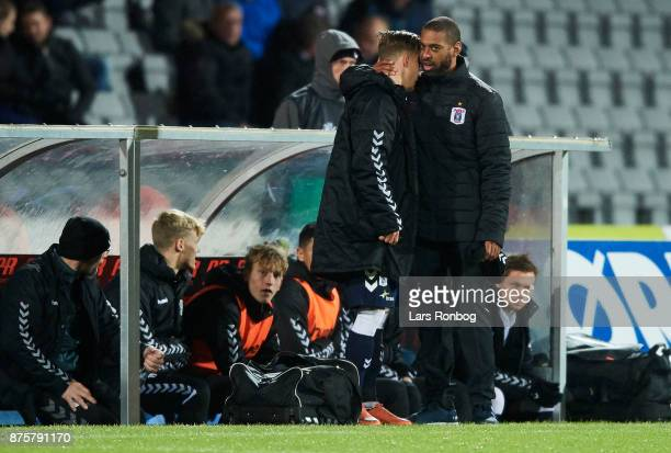 David Nielsen head coach of AGF Aarhus speaks to Andre Riel of AGF Aarhus during the Danish Alka Superliga match between AGF Aarhus and Silkeborg IF...