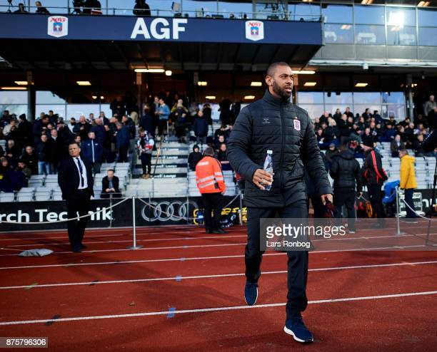David Nielsen head coach of AGF Aarhus walking on to the pitch prior to the Danish Alka Superliga match between AGF Aarhus and Silkeborg IF at Ceres...