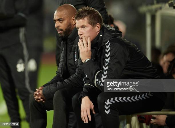 David Nielsen head coach of AGF Arhus and Lars Friis assistant coach of AGF Arhus looks on during the Danish Alka Superliga match between AGF Arhus...