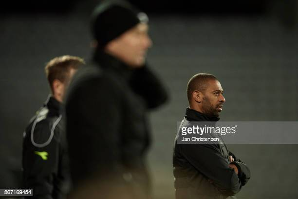 David Nielsen head coach of AGF Arhus looks dejected during the Danish Alka Superliga match between AGF Arhus and FC Nordsjalland at Ceres Park on...