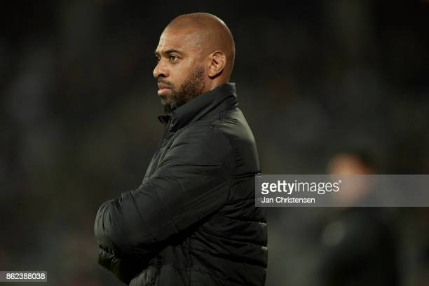 David Nielsen head coach of AGF Arhus looks on during the Danish Alka Superliga match between AGF Arhus and Lyngby BK at Ceres Park on October 16...