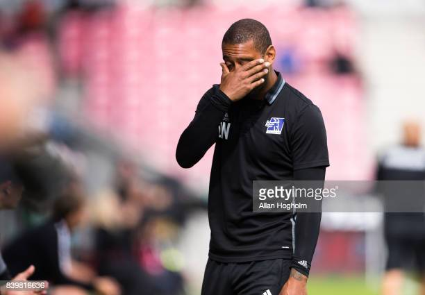 David Nielsen head coach of Lyngby BK looks dejected during the Danish Alka Superliga match between FC Midtjylland and Lyngby BK at MCH Arena on...