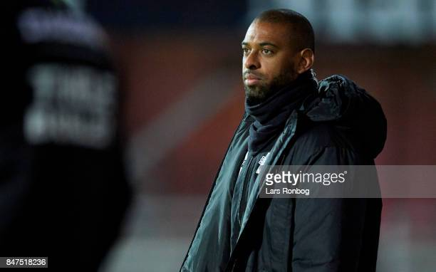 David Nielsen head coach of Lyngby BK looks on during the Danish Alka Superliga match between Randers FC and Lyngby BK at BioNutria Park on September...