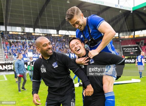 David Nielsen head coach of Lyngby Boldklub and Lasse Fosgaard of Lyngby Boldklub celebrates their victory after the Danish Alka Superliga match...