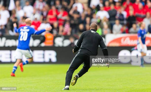 David Nielsen head coach of Lyngby Boldklub celebrates after scoring their third goal during the Danish Alka Superliga match between FC Midtjylland...