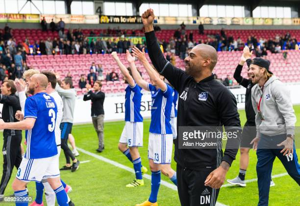 David Nielsen head coach of Lyngby Boldklub celebrates their victory after the Danish Alka Superliga match between FC Midtjylland and Lyngby BK at...