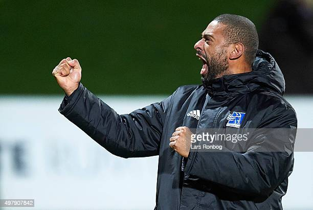 David Nielsen head coach of Lyngby Boldklub celebrates with the fans after the Danish 1th Division Bet25 Liga match between Lyngby Boldklub and Vejle...
